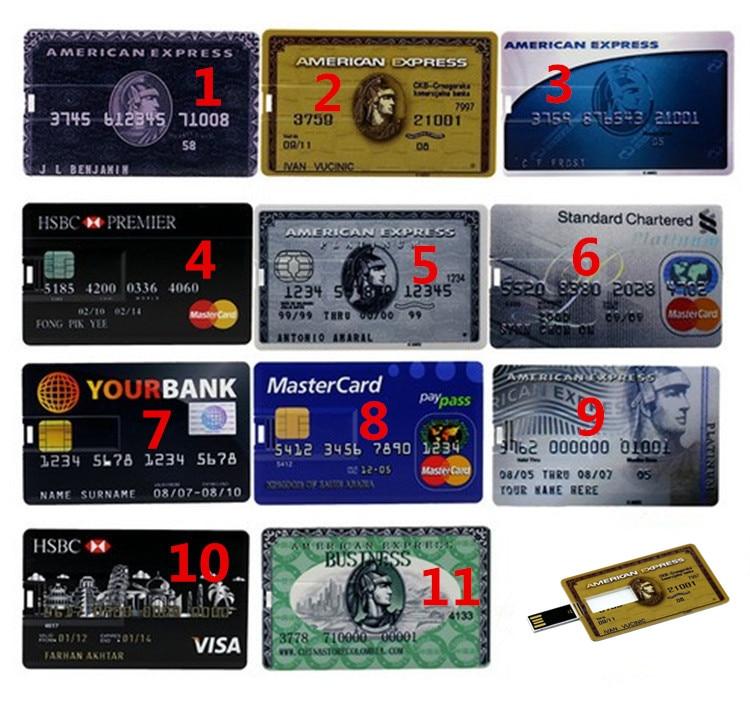 Hot sale 4GB 8GB 16GB 32GB Each country Bank Credit Card Shape USB Flash Drive Pen