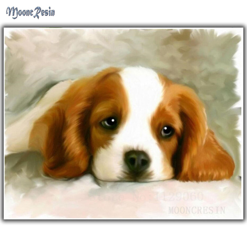 Diy Diamond Painting Cross Stitch Dog Resting On The Ground Needlework 3D Diamond Embroidery Full Round Mosaic Decoration Resin in Diamond Painting Cross Stitch from Home Garden