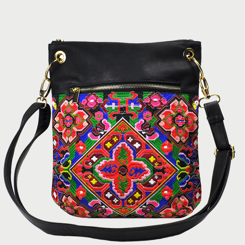 Spain Style Vintage Hippie Embroidered Women Shoulder Bag Bohemian Thai India Style Flowers Pu Leather Crossbody Bags for Women vintage embroidered strapless corset for women