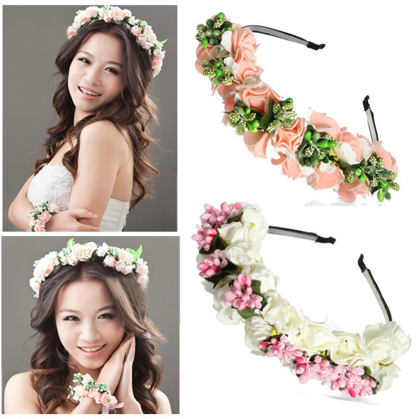 Online Shop High Quality Hot Sale Bride Accessory Rose Flowers Hair Bridal Wedding Flower Garland Headbands Forehead Band 1PC