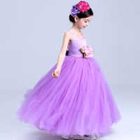 New Wedding Party Purple Formal Flowers Girl Dress Baby Pageant Dresses Birthday Cummunion Toddler Kids evening gowns Custom