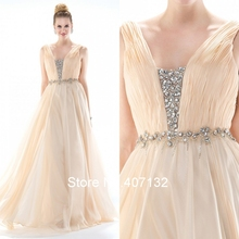 Elegant Beautiful Champagne A-Line Backless Floor Length Chiffon Crystals Formal Long Prom Dresses 2015 Vestido De Festa
