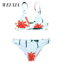 WEIXIA 2018 Swimsuit Women Low Waist Jl1603 Bikini Set Padded Swimwear Push Up Sexy Floral Print