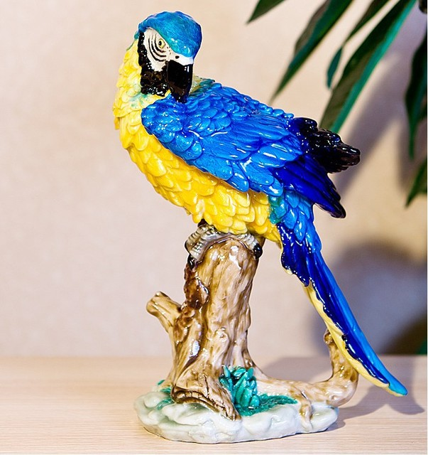 Grosse Papagei Skulptur Home Dekoration Deer Fensterbank Desktop