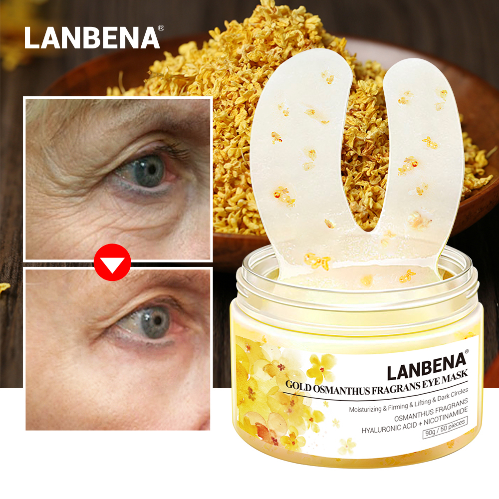 Lanbena Eye Mask Gold Osmanthus Fragrans Eye Patches Remover Dark Circles Eye Bag Reduces Eye Lines Lifting Firming Skin Care