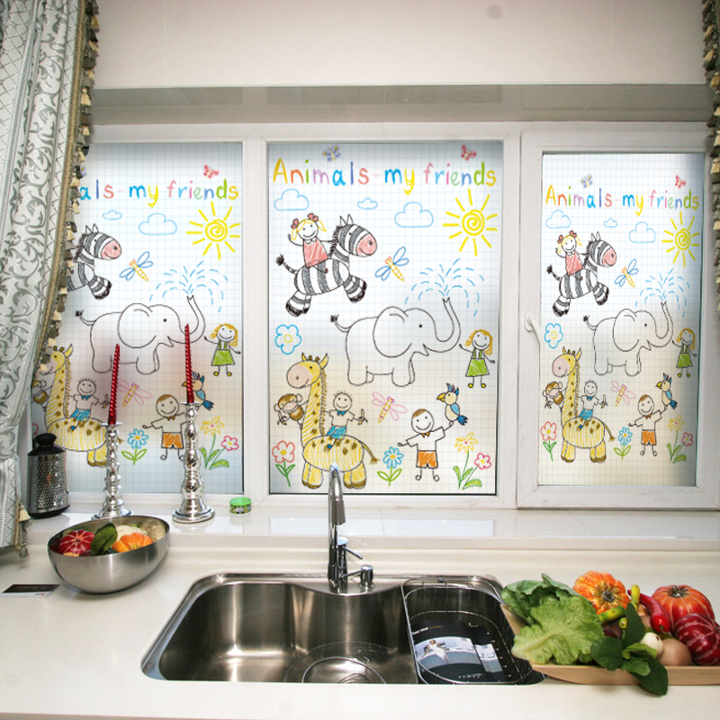 Stained Glass Window Film Static Cling Frosted & Opaque Privacy Home Decor Digital print Removable BLT304 Innocence Cartoon