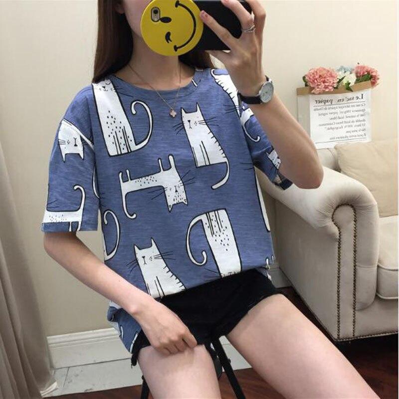 Kawaii Cat Print T- Shirt 5