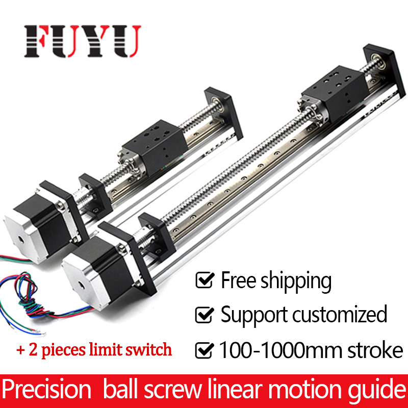 Threaded rod linear guide rail with motor and ball screw for cnc ball screw linear module for 3d printer parts robotic arm kit free shipping factory sale ball screw linear guide rail xyz motorized stage table robotic arm z axis 300mm with motor
