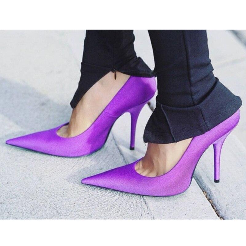 Pointu Pompes De Sexy Soirée Bout Mariage Hauts Talons Nouveau purple Taille black blue Pour Green Chaussures red Mince Femmes Perfetto Soie 44 pink Grande Prova fXqAw7xP6