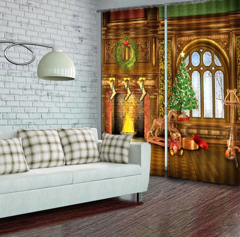 Современные модные рождественские украшения печать 3D затемненные шторы для детей постельные принадлежности гостиная отель шторы Cortinas Para - 2