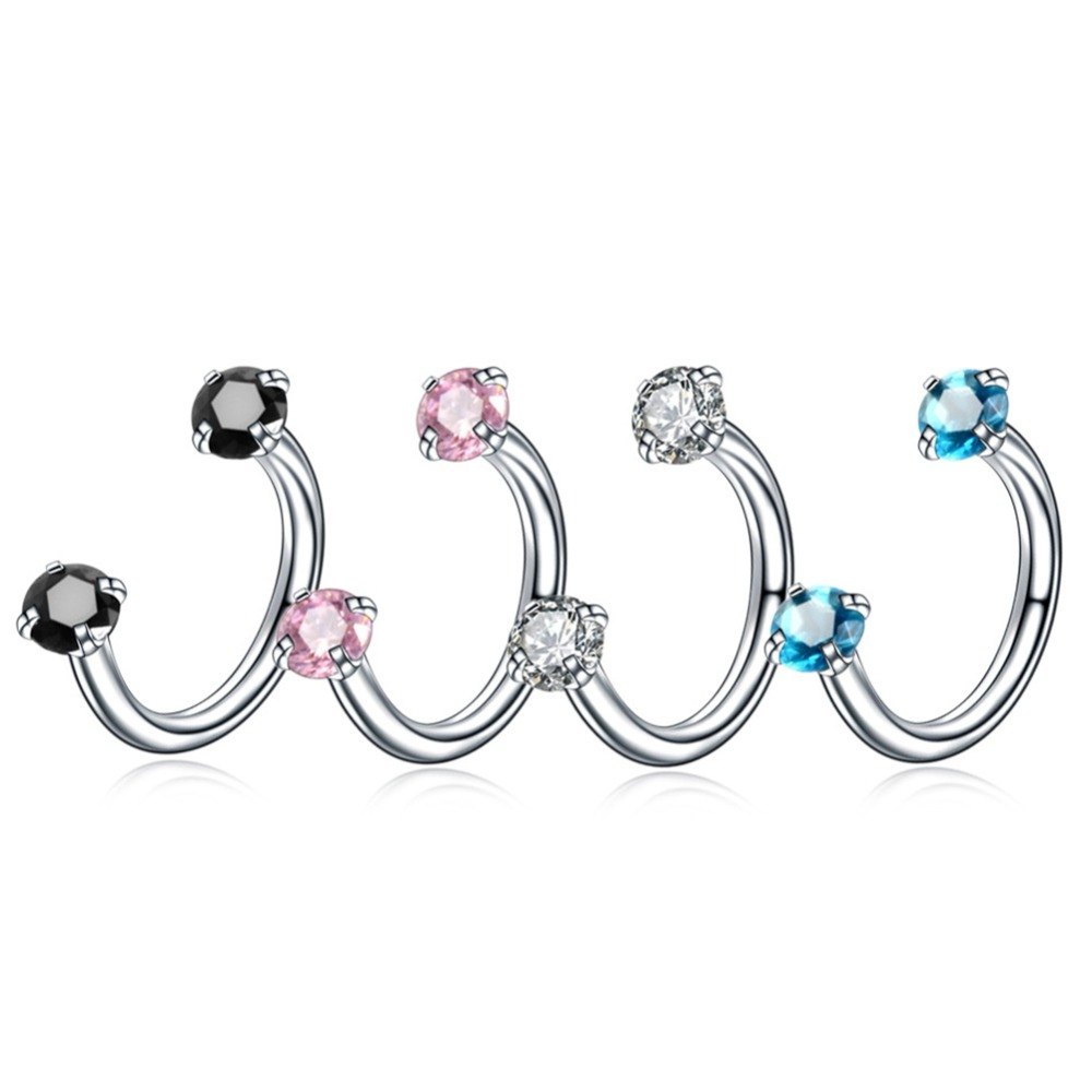 Imixlot 4 Pcs/pack Pretty Crystal Unique Crystal Round U-shaped Nose Ring Silver Rod Women Men Fake Piercing