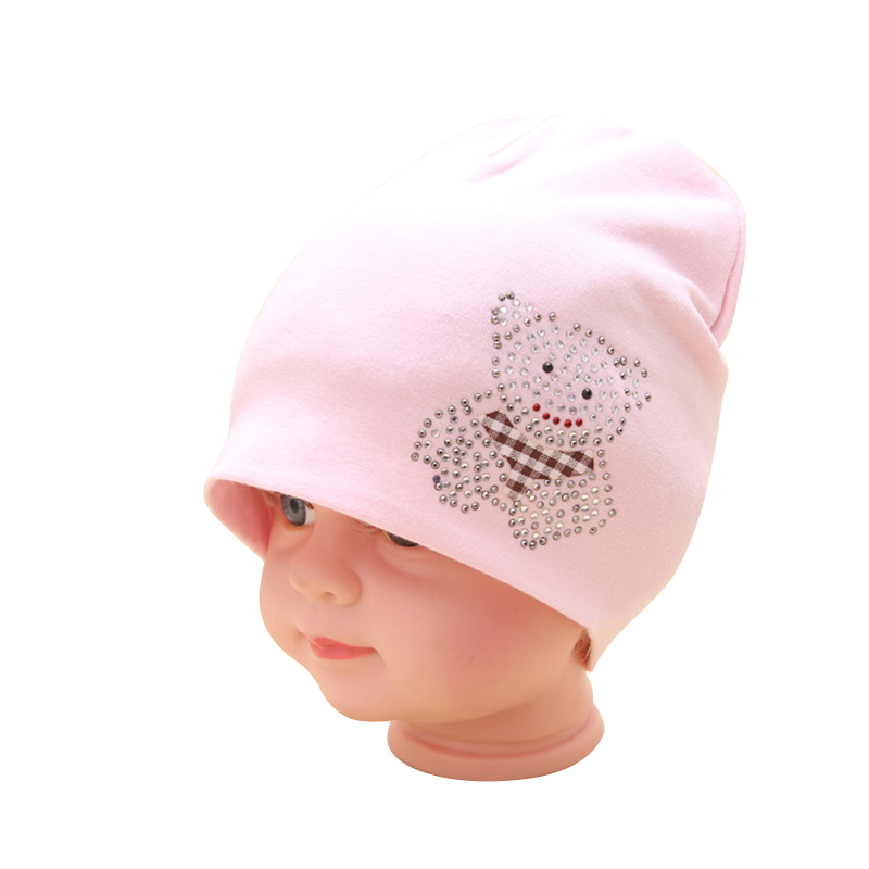 Cute Baby Girls Hat Solid Cotton Infant Beanie Crystal Bear Baby Boy Hat Spring Autumn Cartoon Infant Beanie Baby Girls Clothing
