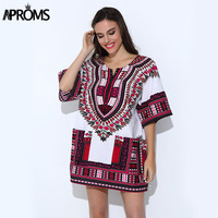 Bohemian Summer Fashion Unisex Tribal Print Blouses Classic Dashiki Top Hippie Punk Traditional African Dresses For