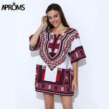 Aproms традиционные африканские Костюмы для женской рубашки классические мужские Базен Riche Dashiki топы большой Размеры осень принт блузки 10716