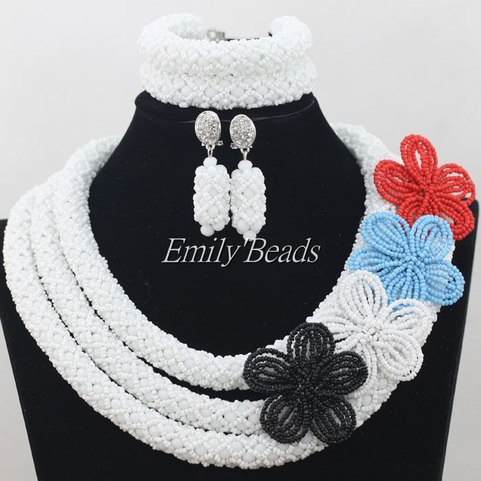 Latest White Crystal Beads Nigerian Wedding Necklace Set Bridal Flowers Jewelry African Beads Jewelry Set Free Shipping AIJ230 graceful white african bridal beads jewelry set nigerian crystal rhinestone bridesmaid women wedding necklace free ship qw677
