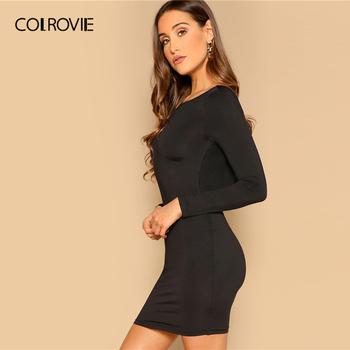 COLROVIE Black Draped Back Bodycon Dress Women 2019 Sexy Backless Summer Party Female Spring Long Sleeve Slim Short Dresses 2