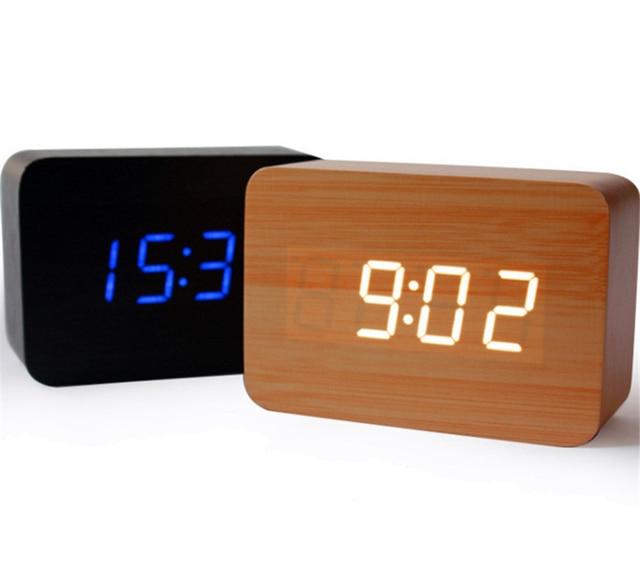 Mini sound control Alarm clock Calendar bedroom LED display digital ...