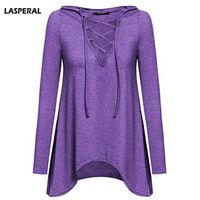 LASPERAL Women T Shirt Long Sleeve Hollow Sexy Casual Shirt With Hat V Neck Slit Open