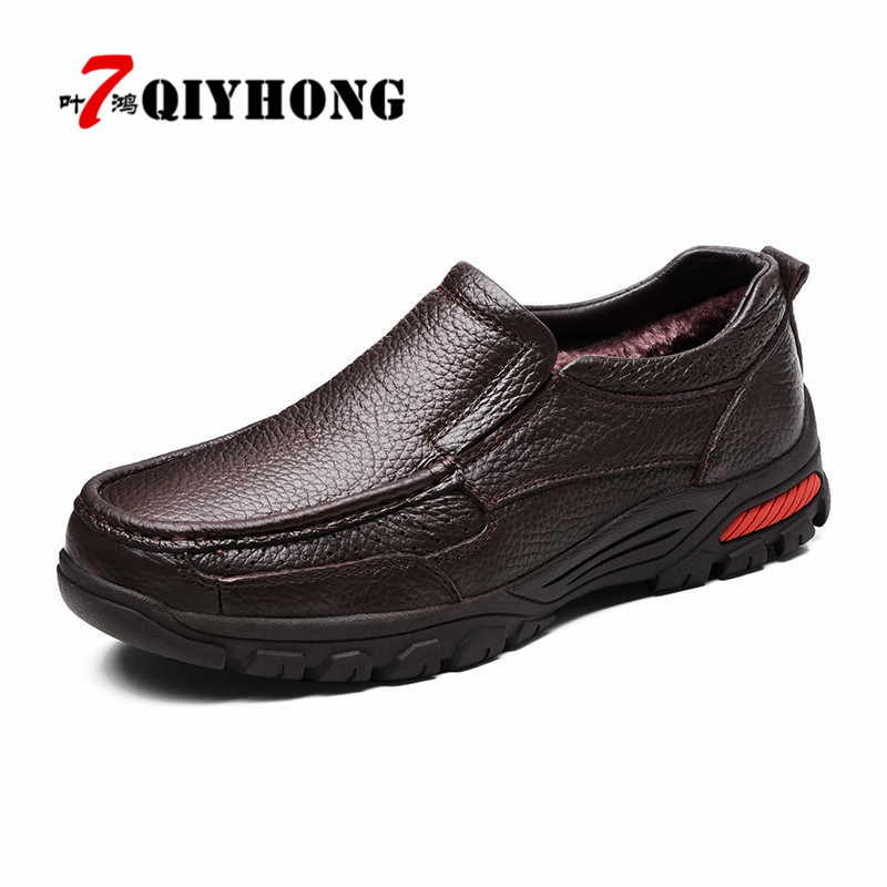 QIYHONG Fashion Comfortable Breathable Soft Genuine Leather Shoes Men High Quality Casual Falts Men Boots Oxfords Big Size 38-48 hot sale fashion comfortable men casual shoes soft genuine leather high top zipper thick sole heighten man shoes size 38 44
