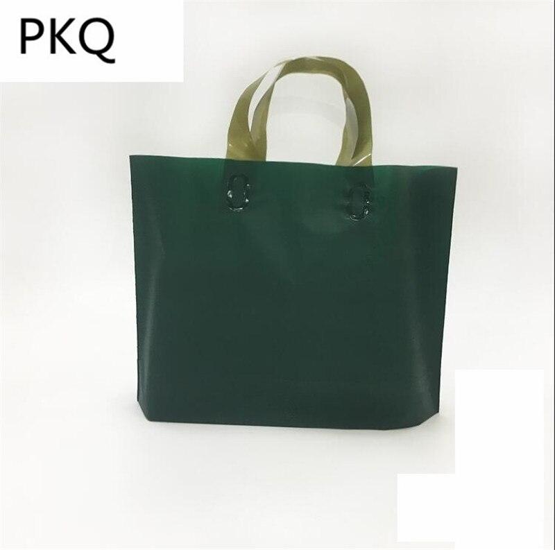 48pcs Dark green large Plastic Bag With Handles Gift Bag