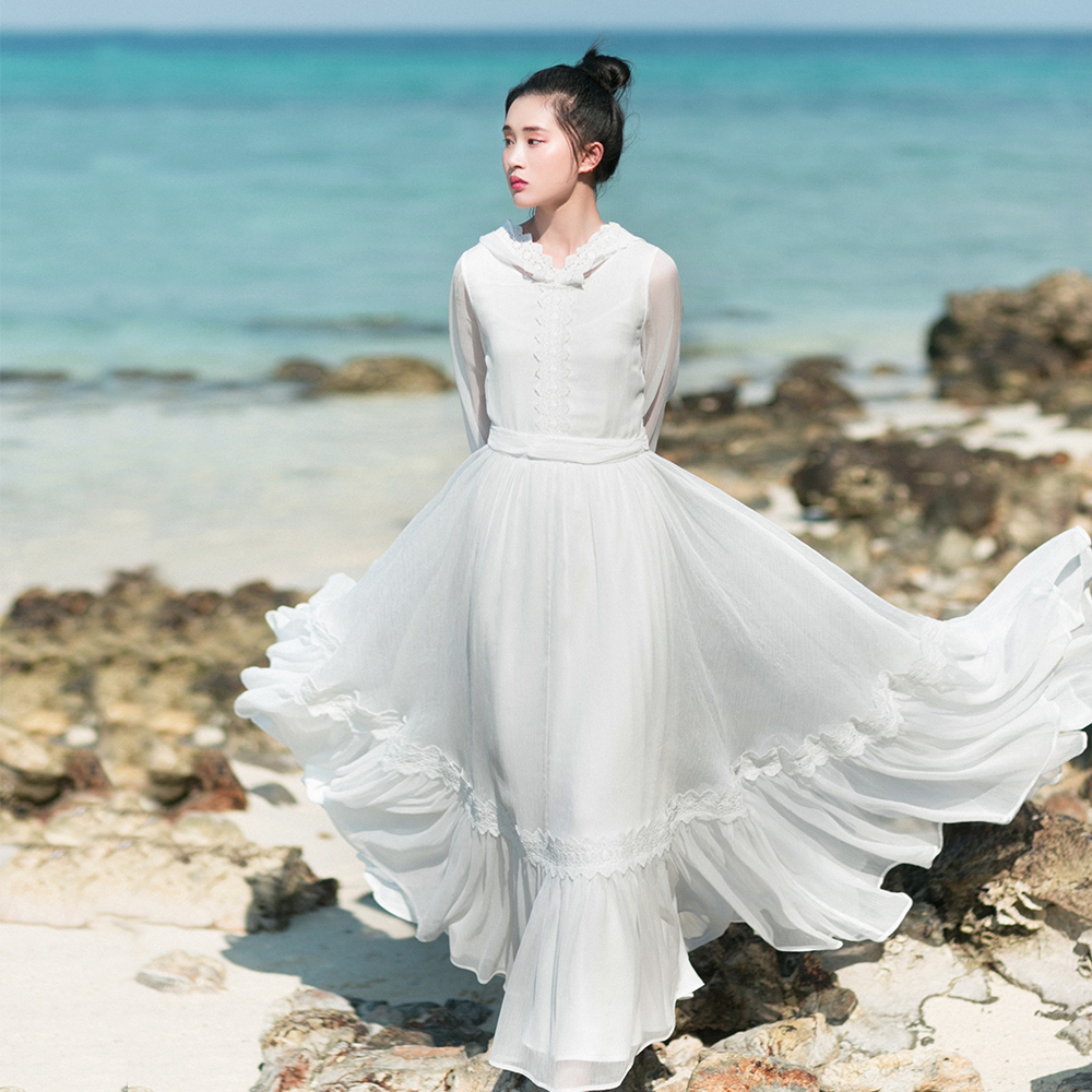 Faye's store original design summer 2018 women vintage 10M large bottom lace appliqued long maxi hooded chiffon dress white