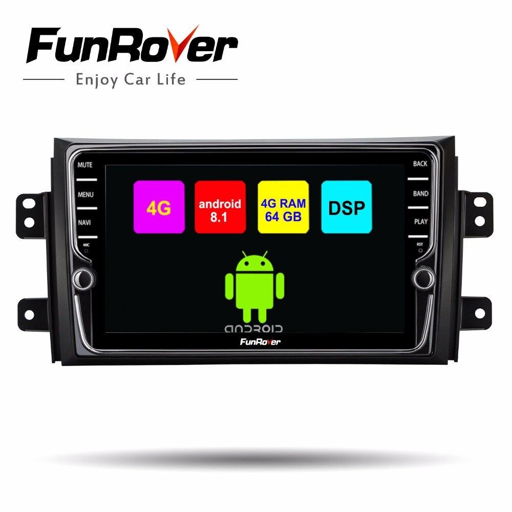 Lecteur multimédia dvd de voiture Funrover android 8.1 pour SUZUKI SX4 SX-4 2006-2013 2 din autoradio gps navigation stéréo headunit DSP