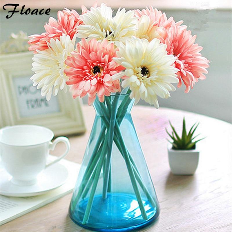 Floace 10ks / lot Barevné kvetoucí Gerbera Domácí dekorativní Umělé květiny Silk Flowers for Living Room