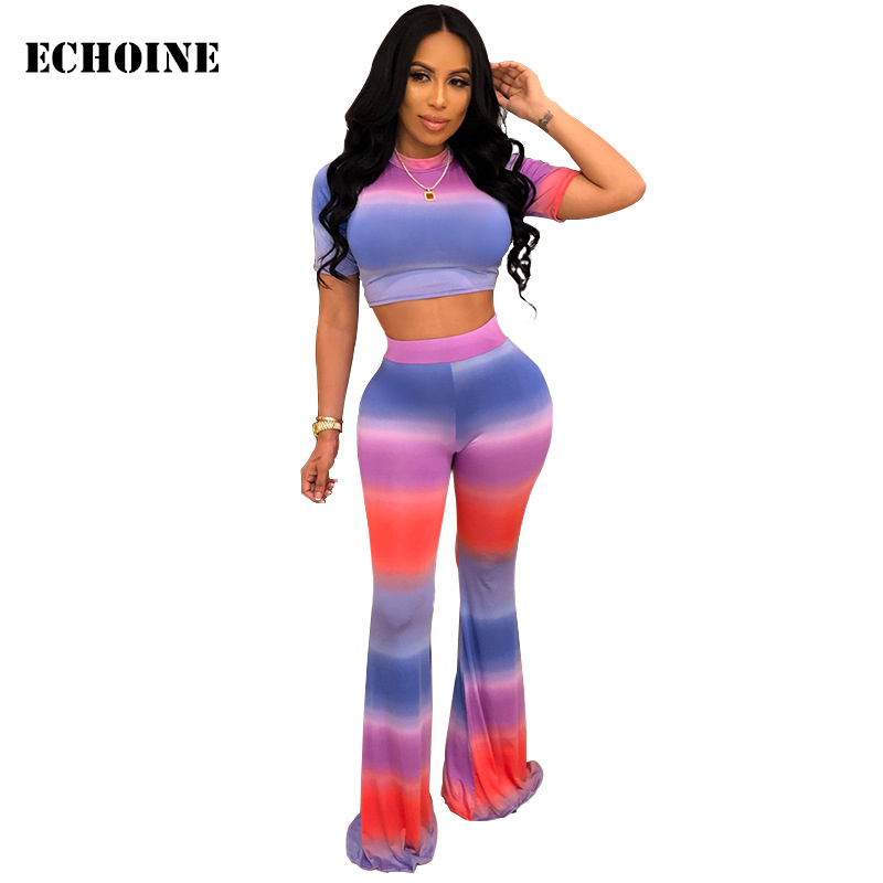 Striped Print 2 Piece Rainbow Outfit Crop Top And Pants Slim Bodycon Women Pants Set Suit Sport Wear Tracksuit Club Outfits
