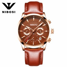 Men's Fashion Business Quartz Watch with Leather Strap NIBOSI Chronograph Waterproof Date Display Analog Sport Wrist Watches