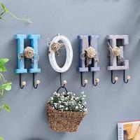 American country decorative frame wooden storage wall hanging wall rack coffee shop home coat hook ZP5061508
