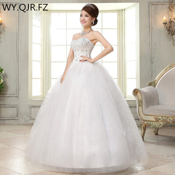 LYG-H35#Real photos new spring 2019 bride wedding dress Sequins white wholesale cheap Dresses Ball Gown Organza with Embroidery