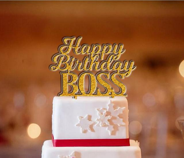 Free Shipping Happy Birthday BOSS Cake Topper GoldSilver Acrylic