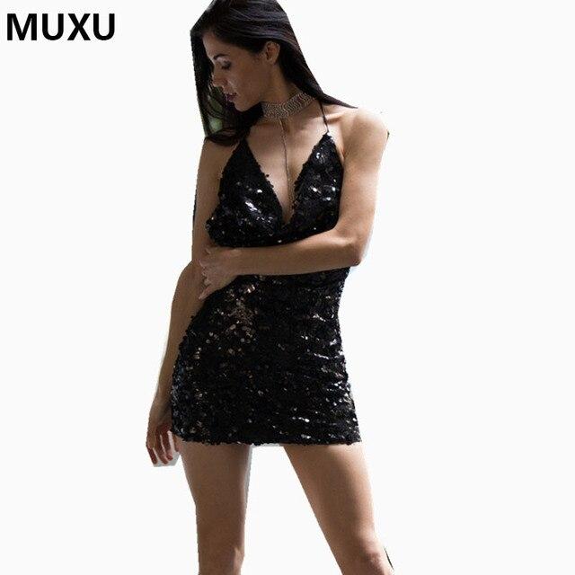 ... Long Sexy Sequins Mermaid Backless Prom Gown H0051. MUXU summer dress  black sequin dress sexy moda feminina ropa mujer glitter dress vestidos de  verano 27d1a53398fc