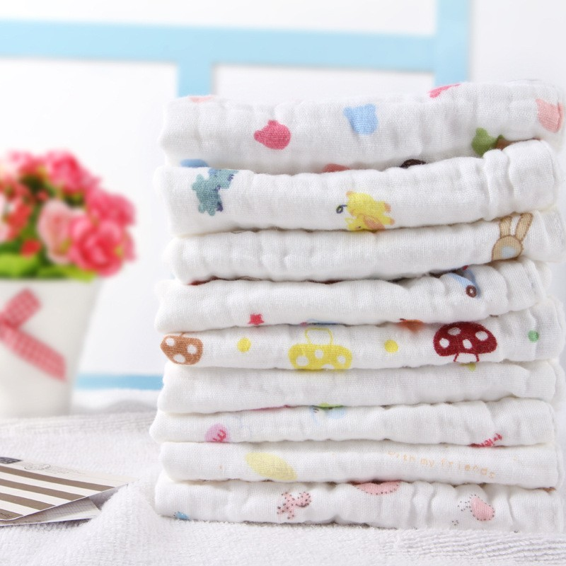 High Density Six-story Washing Gauze  Saliva Face Towels Best-selling New Baby Drool Towel Soft Handkerchief Girl Boy washcloth