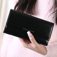 Brand New 2015 Fashion Love Rivet Woman Long Design Purses PU Multi Card Position Women S