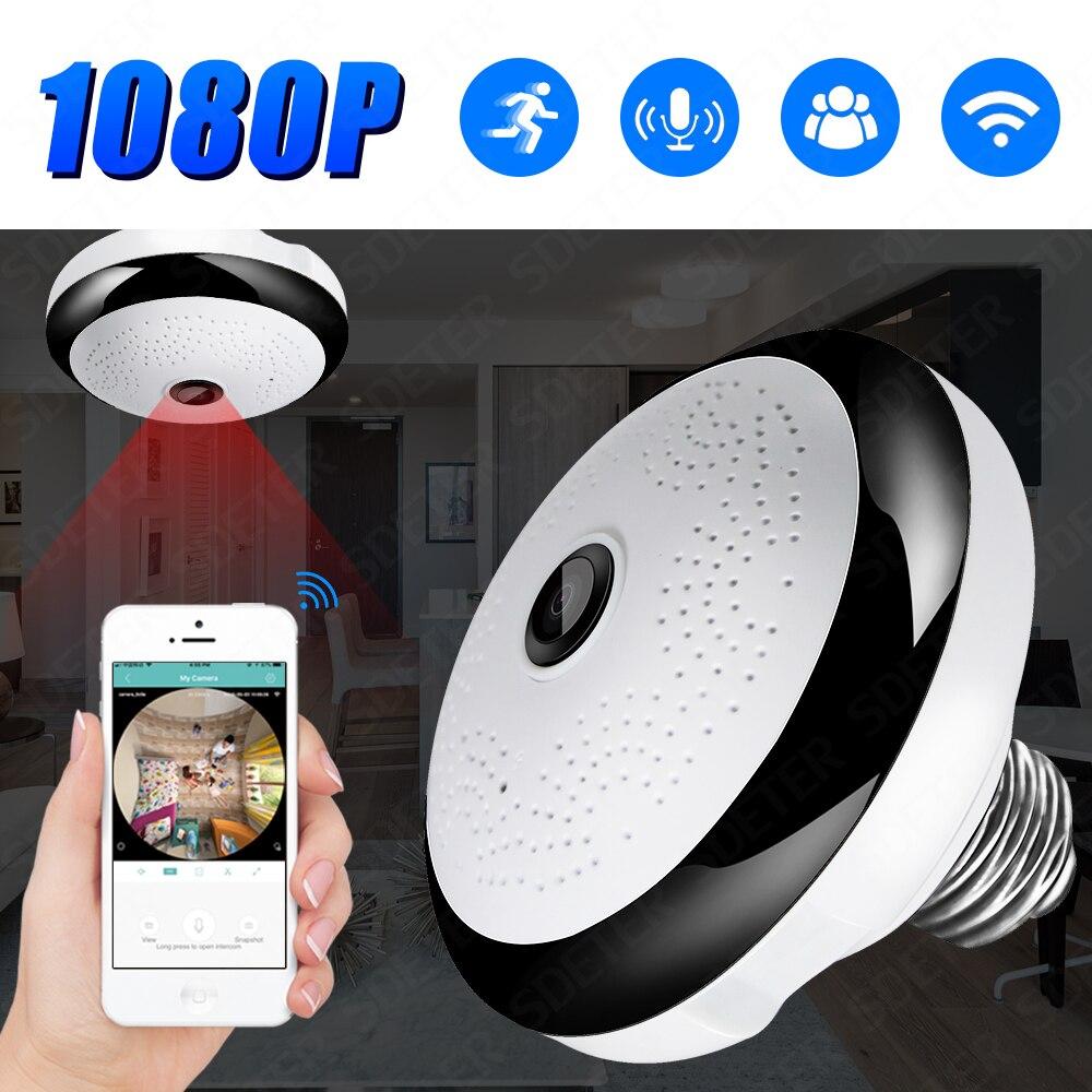 SDETER 1080P Drahtlose WIFI Kamera IP Birne Lampe CCTV Kamera Panorama FishEye LED Licht Sicherheit Kamera Nachtsicht Motion alarm-in Überwachungskameras aus Sicherheit und Schutz bei