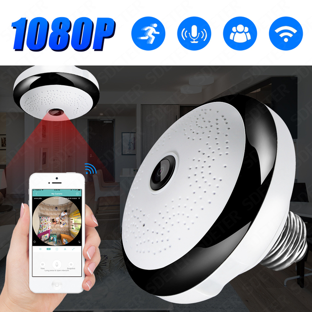 SDETER 1080P Wireless WIFI Camera IP Bulb Lamp CCTV Camera Panoramic FishEye LED Light Security Camera Night Vision Motion Alarm