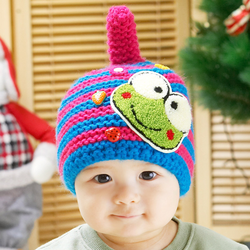 New Arrival Cartoon Frog Winter Knitted Baby Hats Kids Beanie Child Ear  Protector Warm Caps For Baby 3 36 Months Free Shipping-in Hats   Caps from  Mother ... 1b7ddc14e1cf