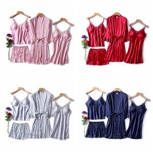 Image 5 - JULYS SONG Frauen Faux Silk Dressing Kleid 4 Stück Sexy Pyjamas Set Spitze Sling Shorts Sommer Robe Nachtwäsche