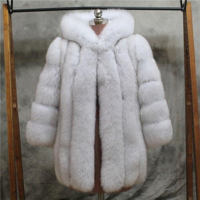 Russe style nouveau épaississent chaud à capuchon véritable manteau de fourrure pour les femmes coupe-vent luxueux réel fourrure de renard veste Personnaliser la Couleur