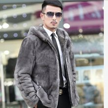 2019 Winter Men's Faux Fur Coats Long Sleeve Mink Fur Jacket Business Formal Slimming Overcoats With Hood Plus Size XL670(China)
