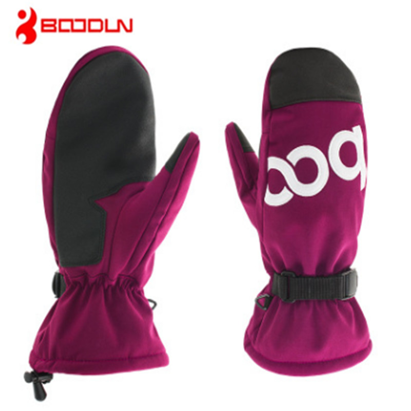 BOODUN PU leather skiing gloves waterproof Keep warm The wind Cold Non-slip Protect the wrist Persistent non deformation