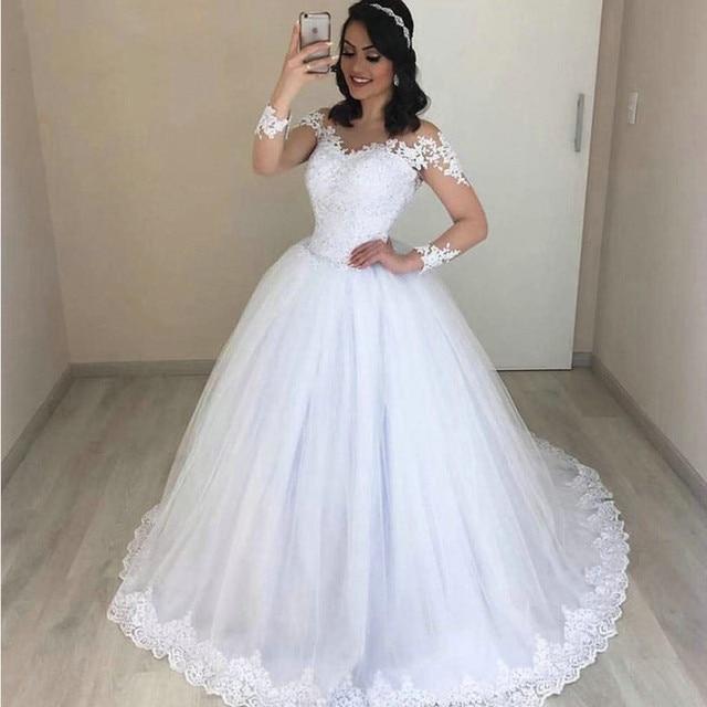 sortie en vente Style magnifique la qualité d'abord Robe de bal romantique robe mariée 2019 à manches longues col en v Tulle  Applique dentelle blanche longue grande taille