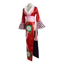 Anime One Piece Cosplay Boa Hancock kimono Cheongsam Dress Women Halloween Costume for Party