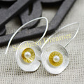 New Arrival Geometric Round Flower Sterling Silver Pearl Hand Made Hoop Earrings Gold Plated For Women  Free Shipping