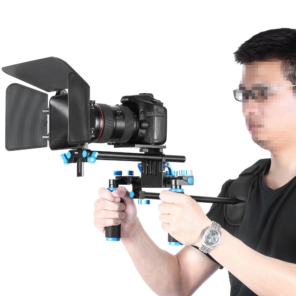 Neewer DSLR Movie Video Making Rig Set System Kit for Camcorder DSLR Camera Shoulder Mount+(1)15mm Rail Rod System+(1)Matte box ylg0102h dslr shoulder mount support rig double hand handgrip holder set for all video cameras and dv camcorders