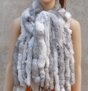Натуральный вязаный шарф из кроличьего меха Рекс, женская зимняя теплая шаль из натурального меха,, KFP574 - Цвет: Grassgrey