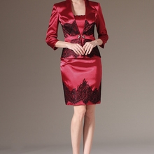 Real Photos NEW Elegant Above Knee Strapless Burgundy Satin Black Lace Short Mother