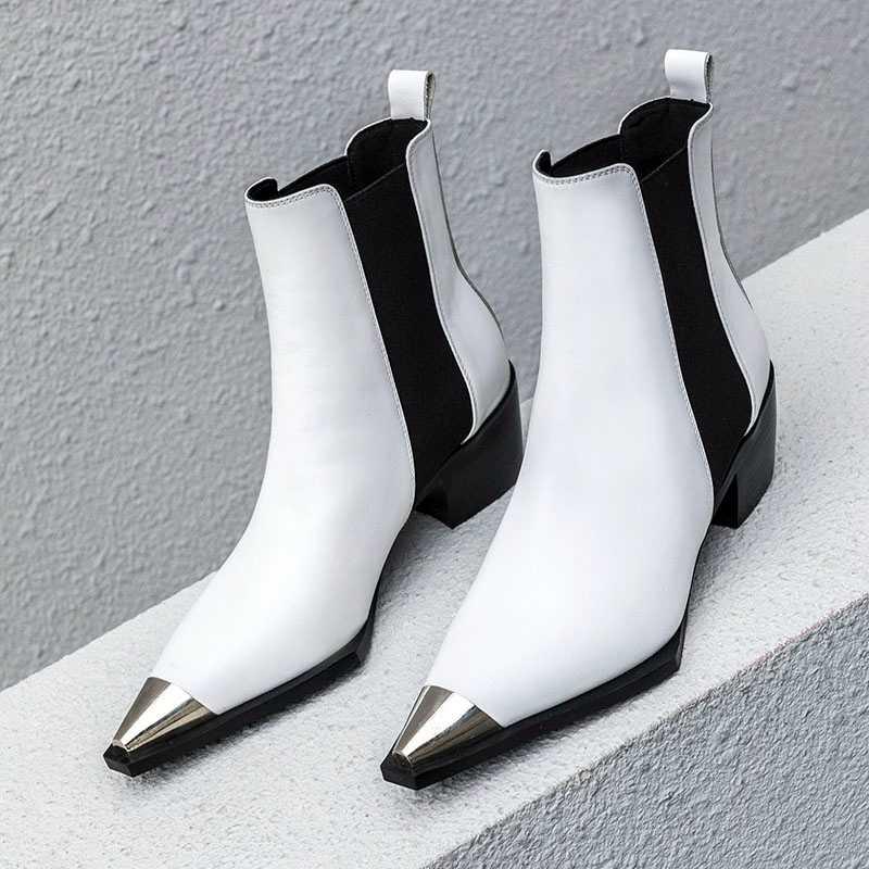 2019 Nieuwe Hoge kwaliteit Dikke Hoge Hakken Fashion Vrouwen Enkellaarsjes Puntschoen Schoeisel Vrouwelijke Laarzen Vrouw Zwart Microfiber Schoenen