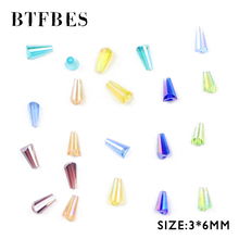 BTFBES Conical Czech Crystal Beads 3*6mm 100pcs AB Tower Shape Austrian Glass Loose For Jewelry Bangle Making DIY